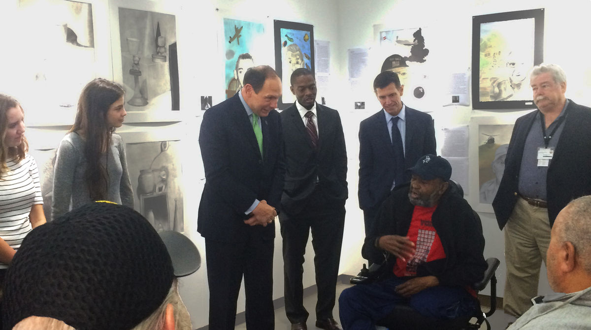 VA Secretary McDonald Visits with Veterans and Brentwood Students